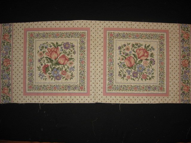 Delicate Flowers pink and blue fabric pillow panel set of two to sew
