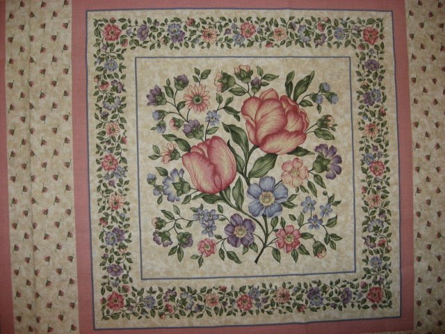 Image 1 of Delicate Flowers pink and blue fabric pillow panel set of two to sew