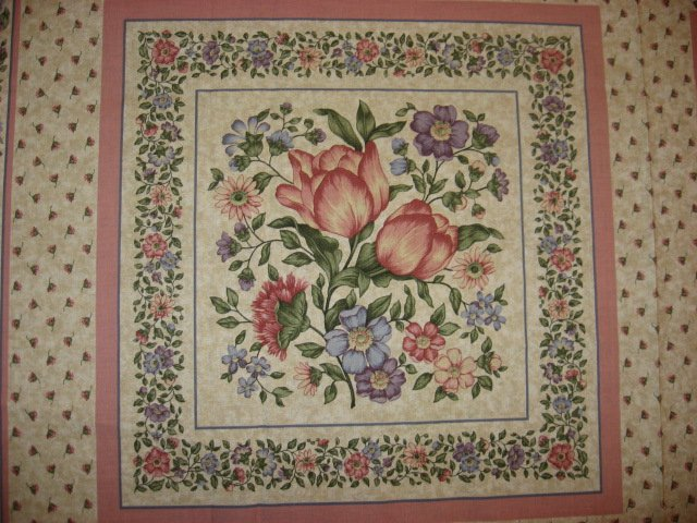 Image 2 of Delicate Flowers pink and blue fabric pillow panel set of two to sew