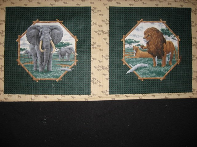 Lion and Elephant in the Jungle Fabric Pillow Panel set of two to sew
