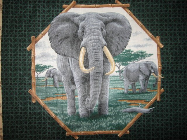 Image 1 of Lion and Elephant in the Jungle Fabric Pillow Panel set of two to sew