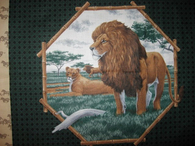 Image 2 of Lion and Elephant in the Jungle Fabric Pillow Panel set of two to sew