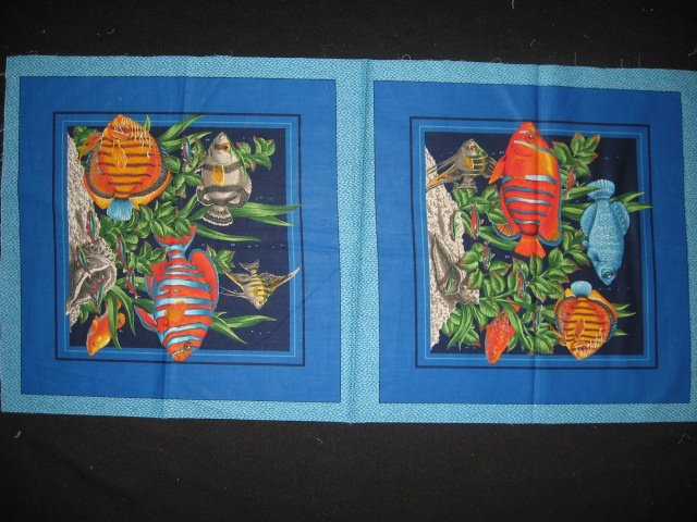 Two Fabric Pillow Panels with Tropical Fish Sea Plants and Coral to sew