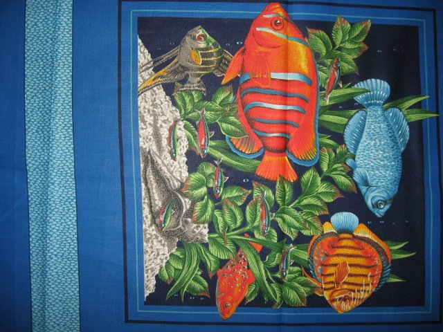 Image 1 of Two Fabric Pillow Panels with Tropical Fish Sea Plants and Coral to sew