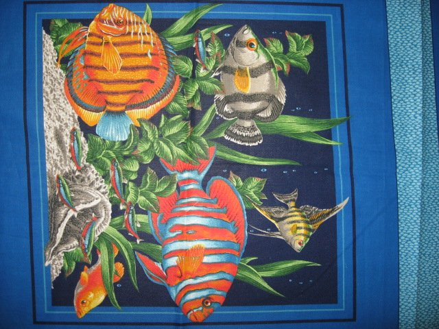 Image 2 of Two Fabric Pillow Panels with Tropical Fish Sea Plants and Coral to sew