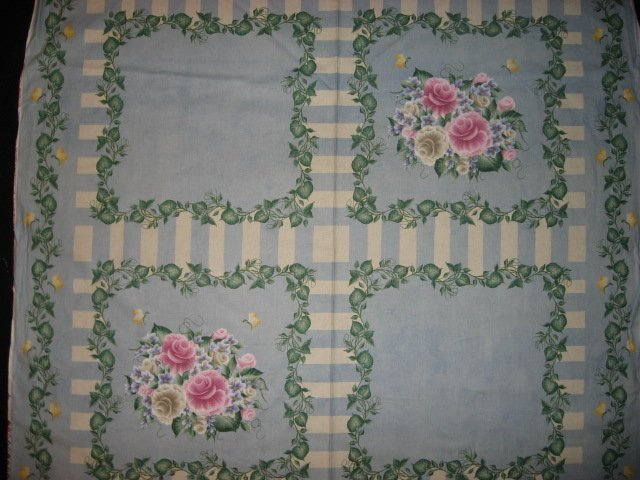 Rose Violet Flowers by Donna Dewberry cotton Fabric pillow panel set of 4