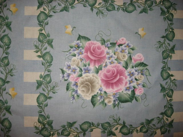 Image 1 of Rose Violet Flowers by Donna Dewberry cotton Fabric pillow panel set of 4