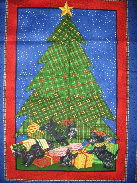 Scottie Dog Christmas Panel and fabric gift tags to sew