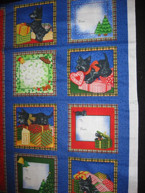 Image 1 of Scottie Dog Christmas Panel and fabric gift tags to sew