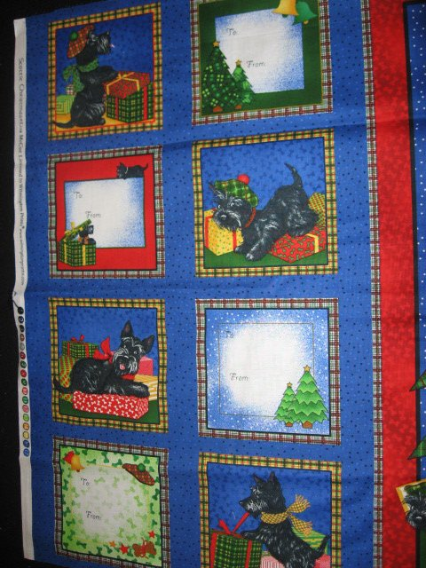 Scottie dog christmas panel and fabric gift tags to sew for Solar system fleece fabric