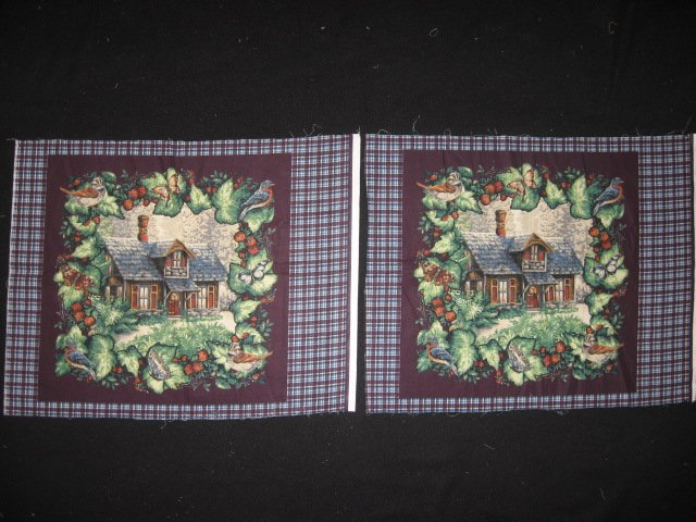 Deer Bird Rabbit Cabin Glenvale cottage Two fabric pillow panels to sew