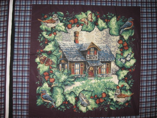 Image 1 of Deer Bird Rabbit Cabin Glenvale cottage Two fabric pillow panels to sew