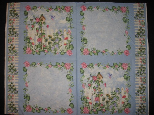 Birdhouse Morning Glory Flowers Fabric Pillow Panel Set of four to sew