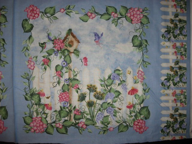 Image 1 of Birdhouse Morning Glory Flowers Fabric Pillow Panel Set of four to sew