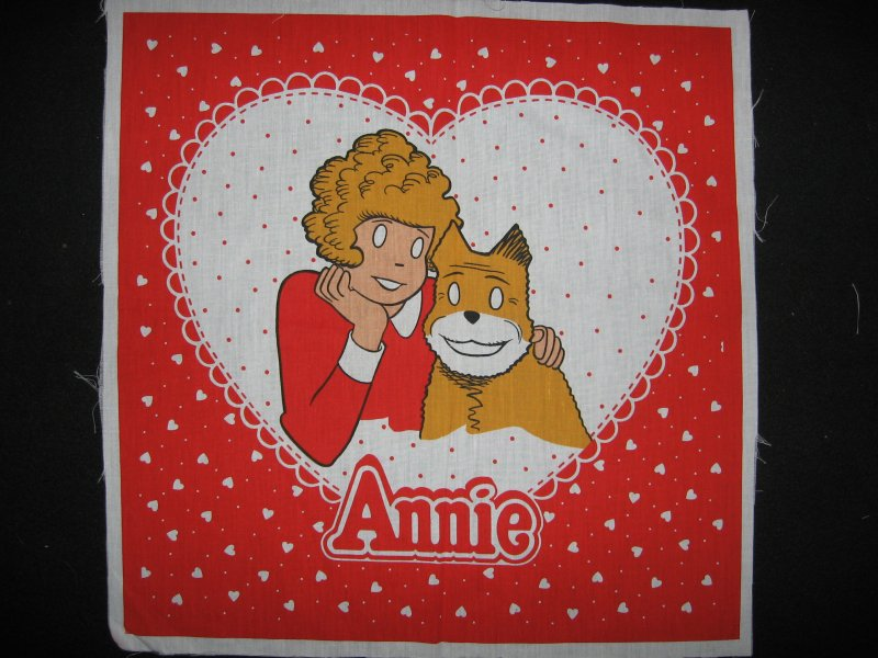 Annie hearts and dog original vintage Large 19 fabric Pillow Panel to sew