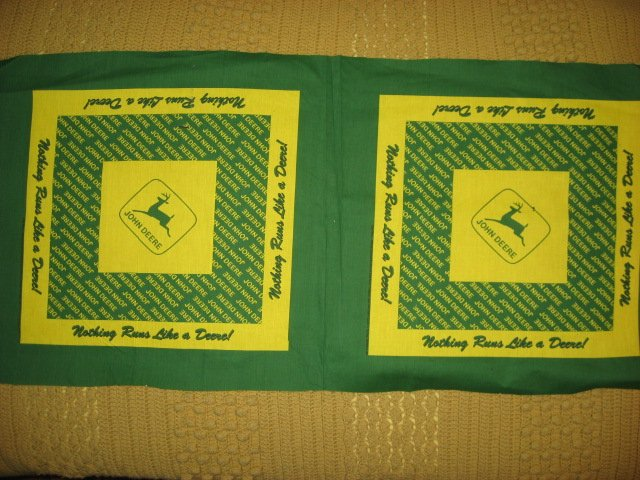 John Deere Logos Large yellow and green Two pillow panel panels to sew
