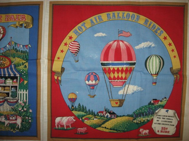 Image 0 of Hot Air Balloon Rides Farm Pigs Pillow Panel Fabric to sew