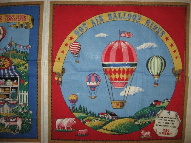 Hot Air Balloon Rides Farm Pigs Pillow Panel Fabric to sew