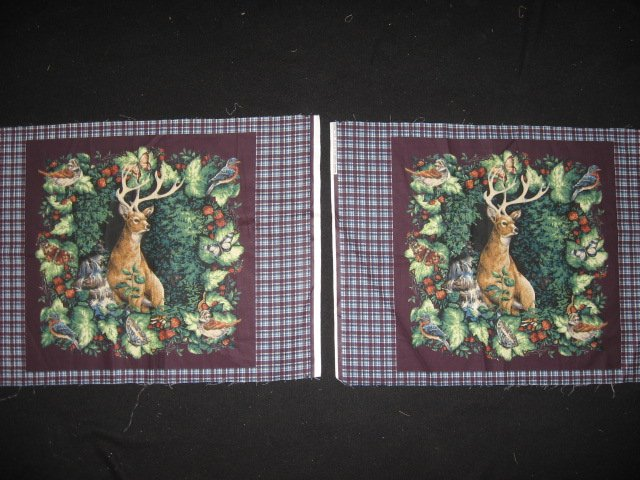 Deer Buck Waterfall Bird and Butterfly Two Glenvale Fabric pillow Panels to Sew