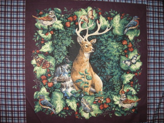 Image 1 of Deer Buck Waterfall Bird and Butterfly Two Glenvale Fabric pillow Panels to Sew