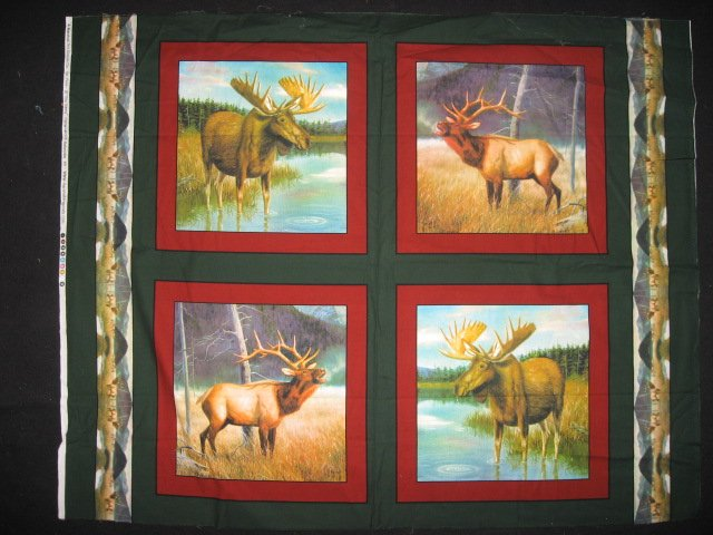 Image 0 of Moose in the river and Elk set of four Fabric pillow panels to sew