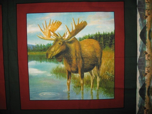 Image 1 of Moose in the river and Elk set of four Fabric pillow panels to sew
