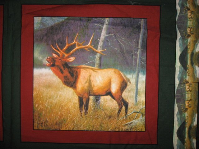 Image 2 of Moose in the river and Elk set of four Fabric pillow panels to sew