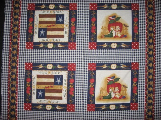 Country Dolls Apples Americana Pillow Panel Fabric Set of four to sew