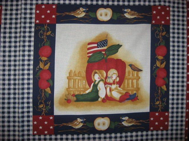 Image 2 of Country Dolls Apples Americana Pillow Panel Fabric Set of four to sew