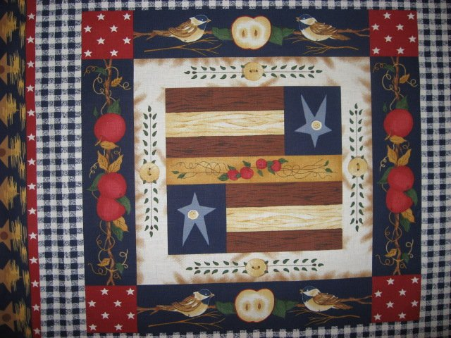 Image 1 of Country Dolls Apples Americana Pillow Panel Fabric Set of four to sew