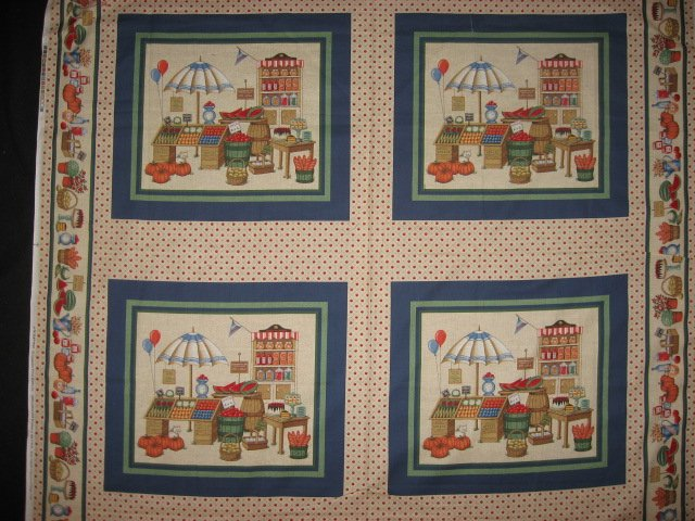 Country Market vegetables with an umbrella four pillow panels to sew