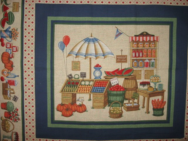 Image 1 of Country Market vegetables with an umbrella four pillow panels to sew