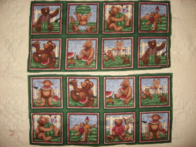 Teddy bear and watermelon fabric with Sixteen 4 3/4 fabric squares
