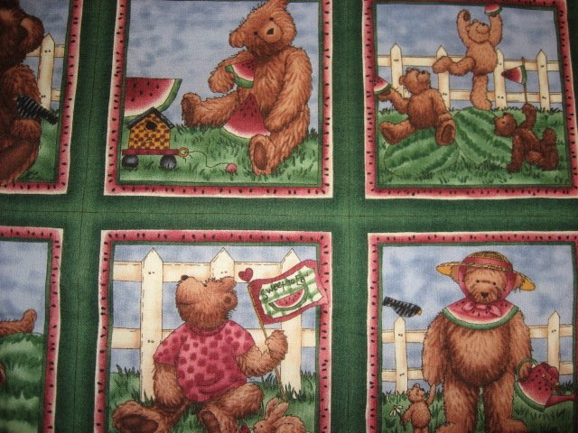 Image 1 of Teddy bear and watermelon fabric with Sixteen 4 3/4