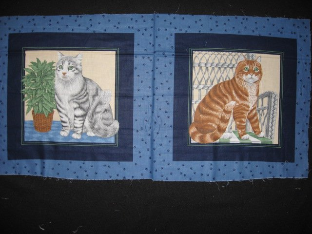 Image 0 of Brown Striped and gray Cats Kittens Fabric Pillow Panel set To sew