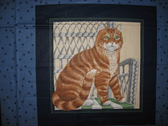 Image 1 of Brown Striped and gray Cats Kittens Fabric Pillow Panel set To sew