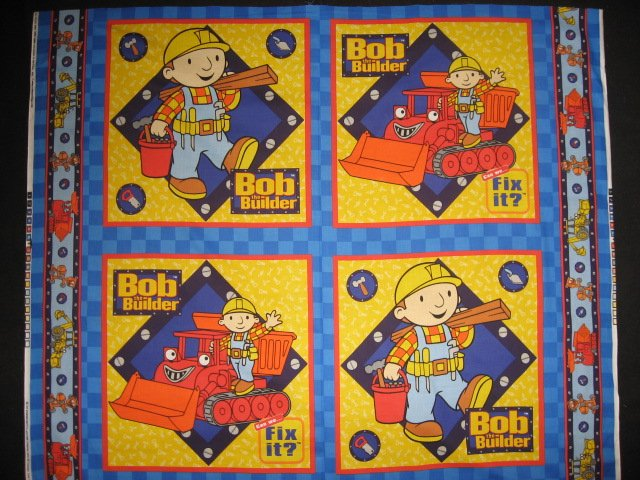 Bob the builder 100 cotton fabric pillow panel set of for Solar system fleece fabric