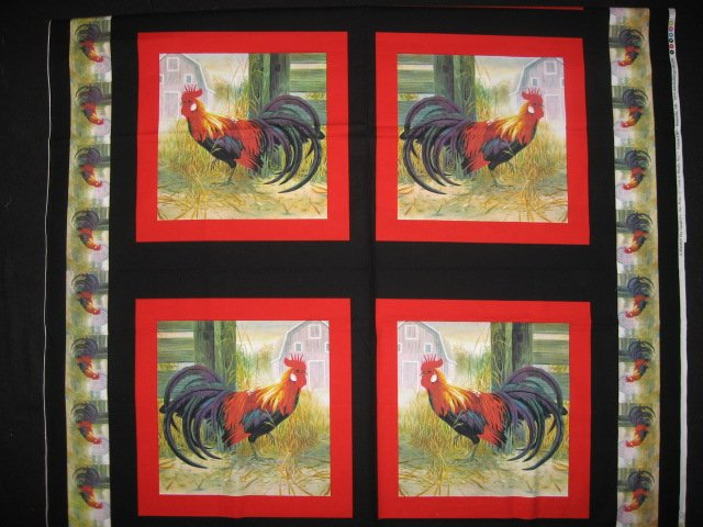 Roosters chickens quilt Sewing fabric pillow panels set of four