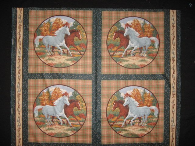 Horses in the Fall woods Fabric pillow panel set of four to sew