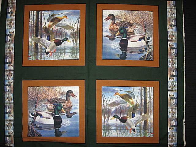 Mallard duck in the marsh Fabric pillow panel set of 4 to sew