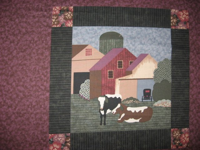 Almost Amish Farm Barn Cow large size Pillow Panel Fabric to sew