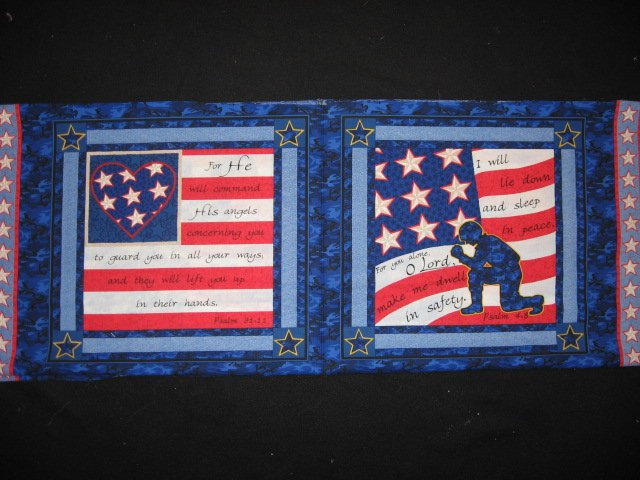 Psalms Soldier and Flag Two military cotton fabric pillow panels to sew