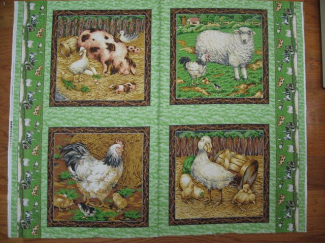 Chicken Pig Duck Sheep Lamb green Fabric Pillow Panel set of four