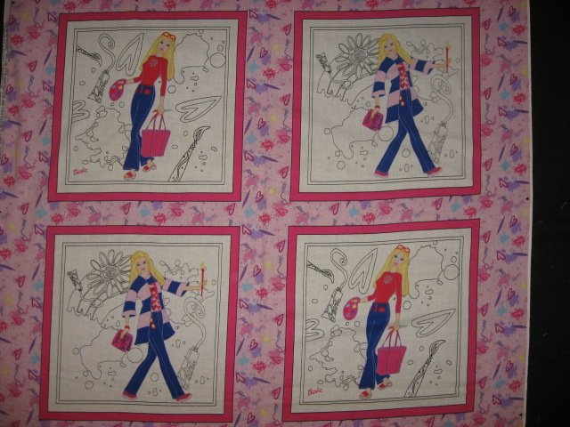 Color me Barbie painting or crayons pillow panel set of four to sew