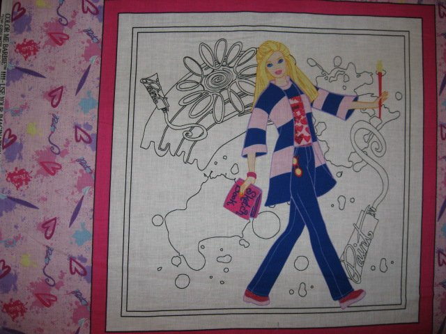 Image 1 of Color me Barbie painting or crayons pillow panel set of four to sew