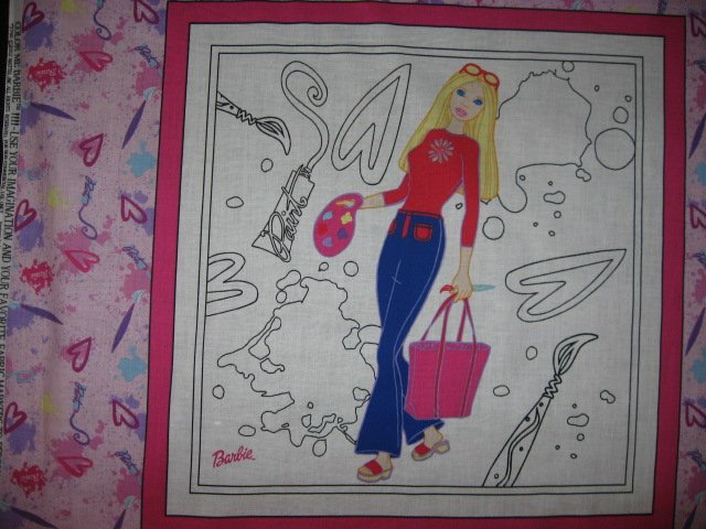 Image 2 of Color me Barbie painting or crayons pillow panel set of four to sew