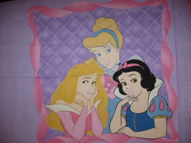 Cinderella Snow White and Aurora Princess Disney Pillow panel fabric to sew