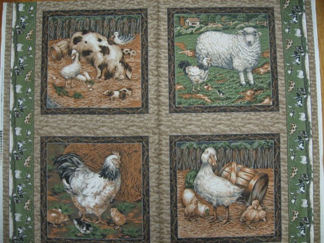 Chicken Pig Duck Sheep Lamb brown Fabric Pillow Panel set of four