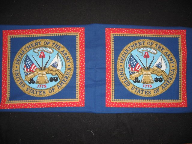 United States Army Military two fabric pillow panel to sew approx 1/2 yard