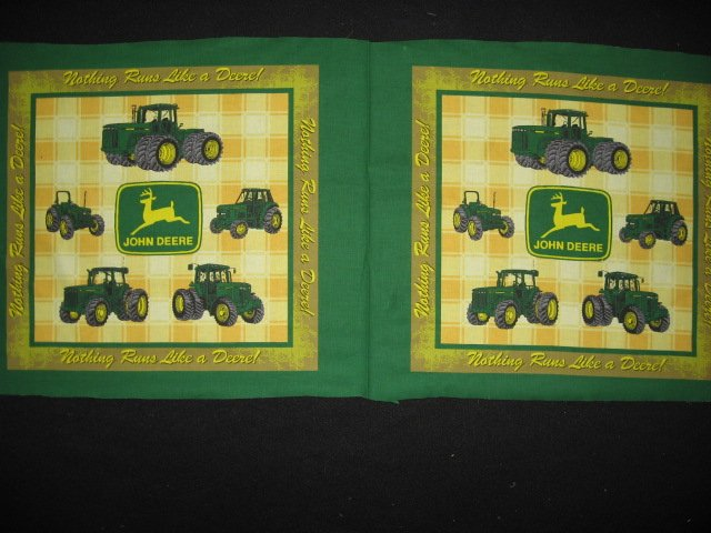 John Deere Tractors yellow plaid Pillow Panel Fabric set of two to sew